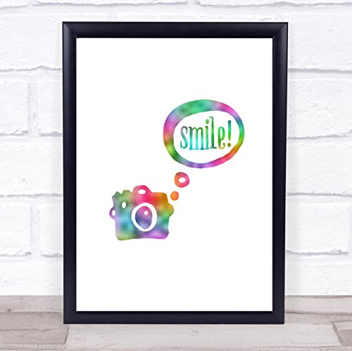 Smile Camera Regenboog Quote Print Framed Rose Gold Medium