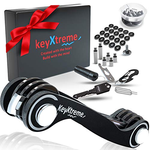 Smart & Compact Key Organizer up to 42 Standard Keys, Pocket Key Holder with Round Edges & Improved Anti-Loosening System, Smart Keychain with 10+ Tools Included (Cash stash & More) (Black)