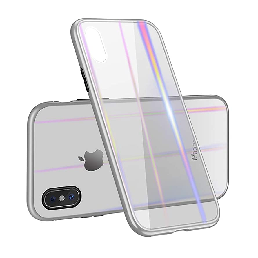 Magnetic Adsorption Case for iPhone 7/8 7P/8P X/XS/XR/XS Max Ultra Slim Metal Frame Tempered Glass Back Case with Built-in Magnet Flip Cover for Apple iPhone (Silver Frame, Xs Max)