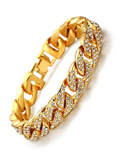 Halukakah Chaîne Homme en Or,Bracelet 14mm Chaîne Cubaine,Plaqué Or Réal 18 Carats,Iced Out avec Diamants,22cm,avec Coffret Cadeau Gratuit