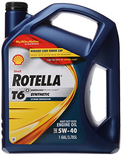 Shell Rotella T6 Full Synthetic 5W-40 Diesel Engine Oil (1-Gallon,...