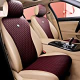 Wine Red Seat Covers Universal Leather Seat Cover Comfortable Car Seat Cover 2/3 Covered 11PCS Fit Car/Auto/SUV (A-Wine...