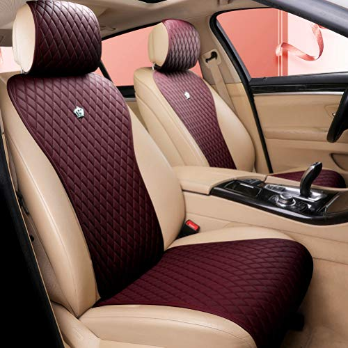 Wine Red Seat Covers Universal Leather Seat Cover Comfortable Car Seat Cover 2/3 Covered 11PCS Fit Car/Auto/SUV (A-Wine red)