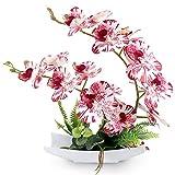 RERXN Bonsái - Flores artificiales decorativas de imitación de porcelana, diseño de orquídeas falsas para decoración del hogar (blanco y rojo)