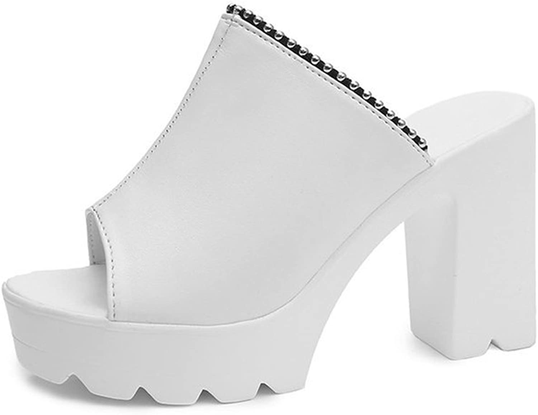 CYBLING Wedge Slides Sandals for Womens Peep Toe High Heeled Chunky Platform Anti-Slip Summer Mules