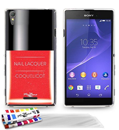 'Geschmeidiger Rückseitenschutz schmal Sony Xperia T3dünn, Motiv Exklusives [Roter Nagellack] [transparent] von MUZZANO + 3Schutzfolien Set