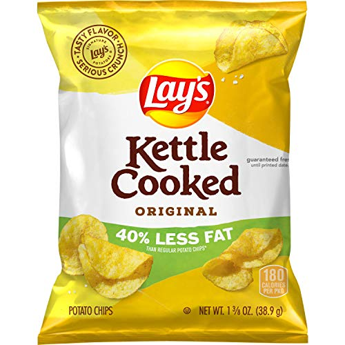 Lay's Kettle Cooked 40% Less Fat Original Potato Chips, 1.375 Ounce...