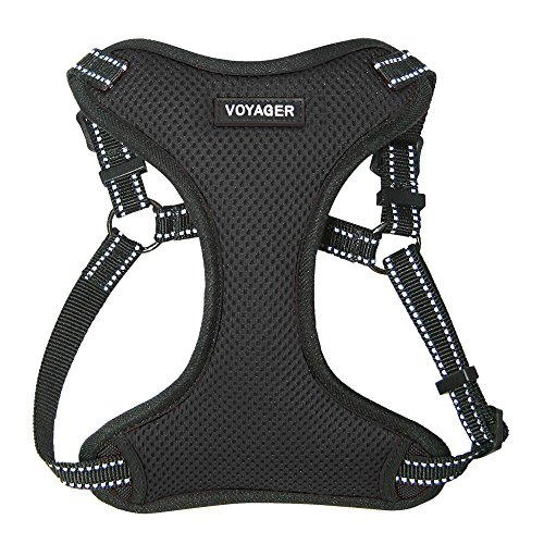 Voyager by Best Pet Supplies - Fully Adjustable Step-in Mesh Harness with Reflective 3M Piping - Black, Small