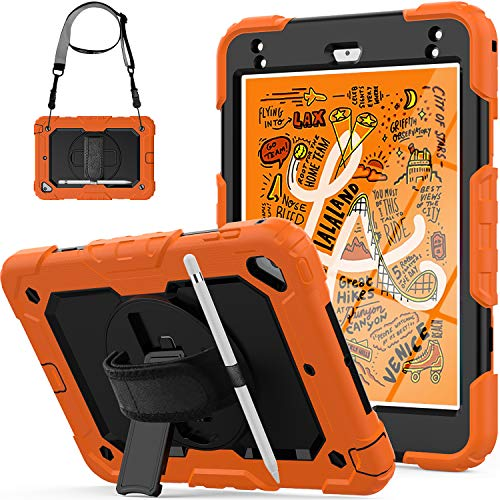 iPad Mini 5/4 Case, Mini 5/4th Gen 2019/2015 Model, SEYMCY Full Protection Shockproof Case [360 Rotating Hand Strap KickStand] Mini Cover with Screen Protector for iPad Mini 5/Mini 4, Black/Orange
