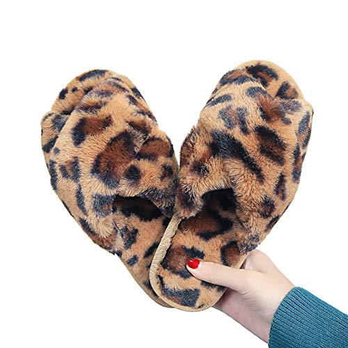 Porfeet Frauen Hausschuhe, Frauen Leopard Cross Band Weiche Plüsch Flauschige Hausschuhe Open Toe Warme Schlafzimmerschuhe Braun 40