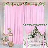 Pink Backdrop Curtain for Parties Baby Shower Birthday Weddings Photography Fabric Drape Backdrop with Golden Curtain Tiebacks 5ft x 7ft (Pack of Two)