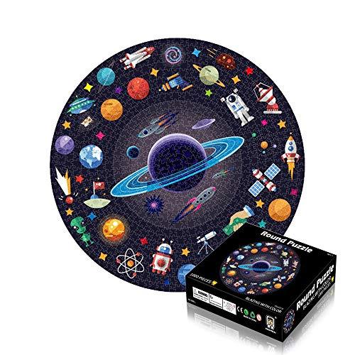 Anyingkai Puzzle Redondo 1000 Piezas,Puzzle 1000 Piezas,Puzzle Circular,Rompecabezas Redondo,Puzzle Adultos 1000 Piezas,Redondo Puzzle (Espacio)