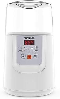 ヨーグルトメーカー homgeek 温度調節機能(25~65℃) タイマー機能(1~99時間) 甘酒・ヨーグルト カスピ海ヨーグル 塩麹 納豆 ホワイト 1000ml容器 計量スプーン付属