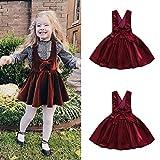 HaiQianXin Kids Baby Toddler Girl Bowknot Velvet Suspender Vestido de Traje de Fiesta Vestidos...