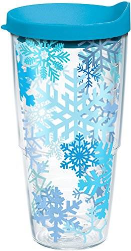 Tervis Snowflakes Tumbler with Wrap and Turquoise Lid 24oz, Clear