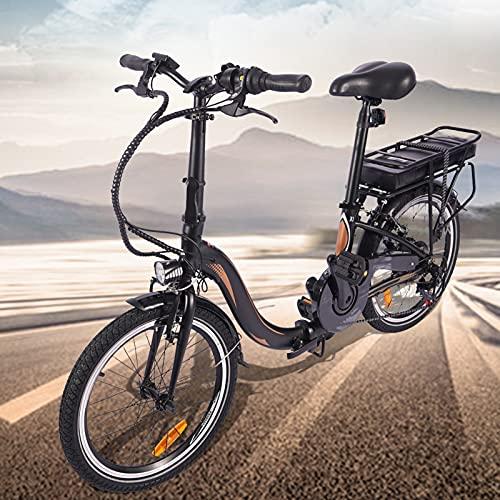 Bici electrica Plegable Batería Litio 36V 10Ah Bicicleta Eléctrica Urbana Cuadro Plegable de aleación de Aluminio Batería de 45 a 55 km de autonomía ultralarga Adultos Unisex