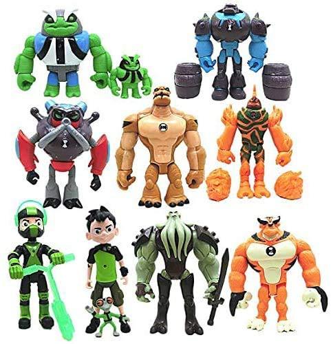 Ben 10 5'' 11pcs/Set Action Figures(Ben,Grey Matter,Rath,Hot Shot,Slapback,Armored Shock Rock,Vilgax,Humungousaur,Rustbuggy Ben,Omni-Enhanced Overflow)