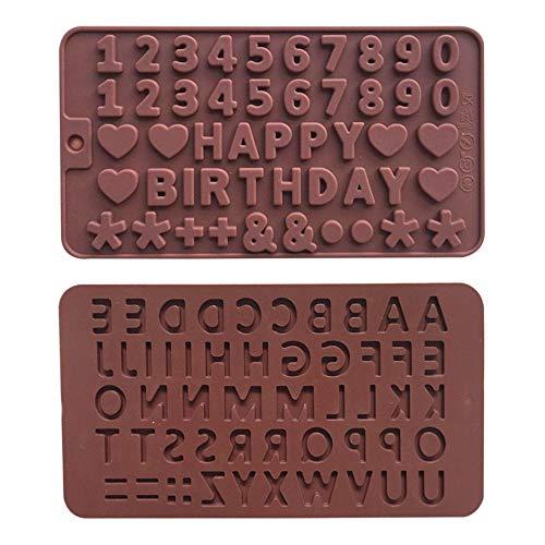 2 Pezzi Stampo in Silicone per Lettere Inglesi, Stampi per Caramelle/Stampi per Torta Fondente/Stampo per Cioccolato Fai-da-te, Stampo Fai-da-te per Cubetti di Ghiaccio, Biscotti,Gelatina,Torte