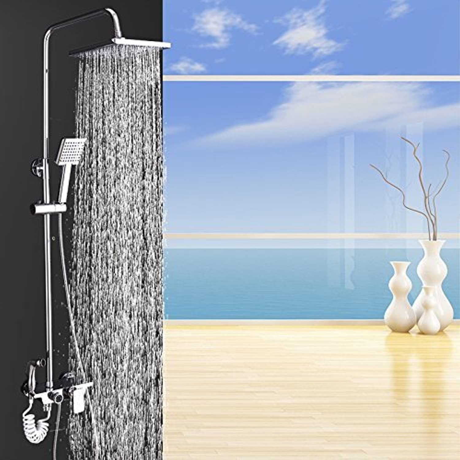 Home Bathroom Bath-Tub Shower Multi Chrome Features Four Washers Sprinkler Costume Sprinklers at Hand Lift Constant Temperature