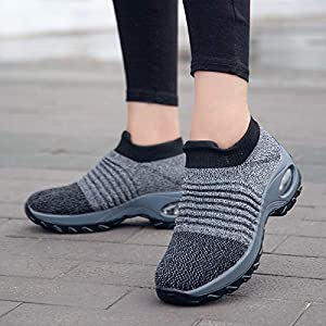 Metyere Women's Fashion Walking Shoes-Breathable Mesh Sneaker,Comfortable Wedge Platform Shoes Women Walking Shoes Super Soft Height Increase Travel Outdoor Shoes