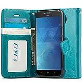 J&D Compatible para Moto C Plus Funda, [Protección de Cartera] [Soporte Plegable] Funda Pesada Resistentes Billetera para Motorola Moto C Plus Funda Cuero - Turquesa