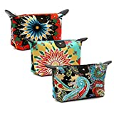 HOYOFO Women's Cosmetic Bags Travel Small Makeup Storage Pouch Cosmetic and Toiletries Organizer Bag Pack of 3, A set
