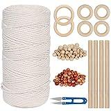 Spago Bianco 3mm x 150m, 100% Cotton Naturale Twine Macrame Corda, Filo di Cotone Macramè...
