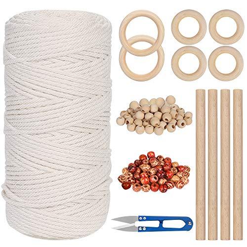 Cuerda de Algodón Natural,3 mm x 150 mm Macrame Cuerda Cordón Hilo de Algodón , 4 varillas de madera, 6 anillos de madera, 100 perlas de madera, 1 tijeras para manualidades, Hecha a Mano Craft Cuerda