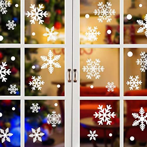 UMIPUBO 270 PZ Natale Vetrofanie, Fiocco di Neve Adesivo PVC Rimovibile Adesivi Fai da Te Finestra Decorazione Vetrina Adesivo Fiocco di Neve (Bianco) (270 pz)