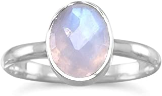 Stackable Ring Faceted Moonstone Sterling Silver