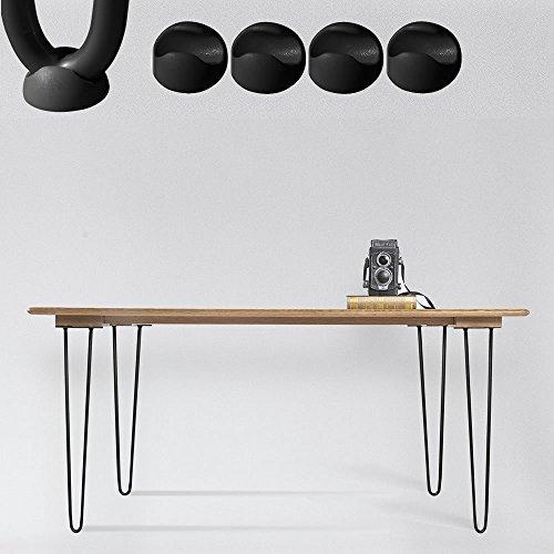Melko 4 Stück Hairpin Legs, schlanke Tischbeine aus Stahl, 60cm hoch, Vintage und Industrial Look, mit Gummi Bodenschoner, schwarz