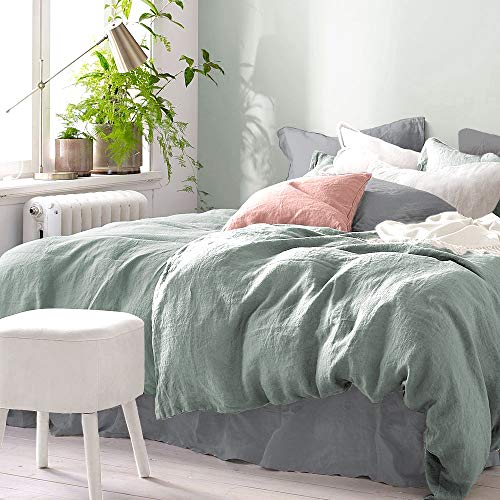 Pure Label Halbleinen Bettwäsche - Set aus Baumwolle und Leinen, Größe:2tlg. 155x220cm + 80x80cm, Farbe:Grün/Salbei