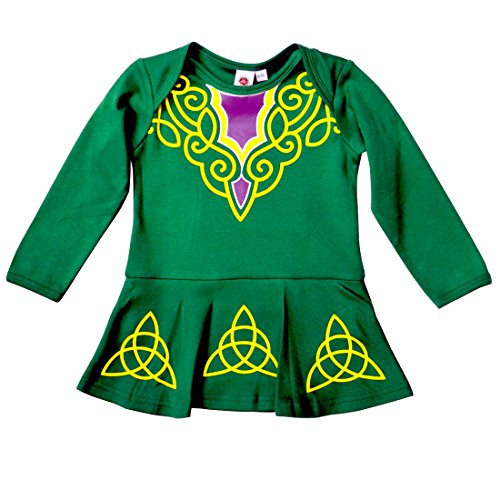 Carrolls Irish Gifts Green Babies Vest Designed As Irish Dancing Dress With Celtic Design, 0-6 Months