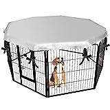 DUDUPET ペットフェンス 大型犬用 中型犬用 ペットケージ パネル8枚 四角ポール 折り畳み式 ペットサークル スチール製 複数連結可能 室内室外兼用 犬小屋 ペット用品 (犬ケージカバー(8面で幅が80 cm))