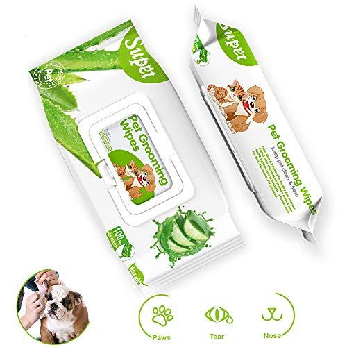 Supet Toallitas para Mascotas Toallitas de Limpieza para Perros Aloe Natural para Perros desodorizantes para Limpiar la Cara, los Ojos, Las Orejas, Las Patas, los Dientes, 100 por Paquete