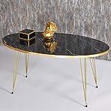 Derin Table basse | Aspect marbre | Noir | Design de luxe | Doré | Tables de salon en marbre | Tables de salon | Table...