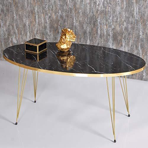 Derin Table basse | Aspect marbre | Noir | Design de luxe | Doré | Tables de salon en marbre | Tables de salon | Table de salon | Table de salon | Table de luxe | 90 x 50 x 42 cm