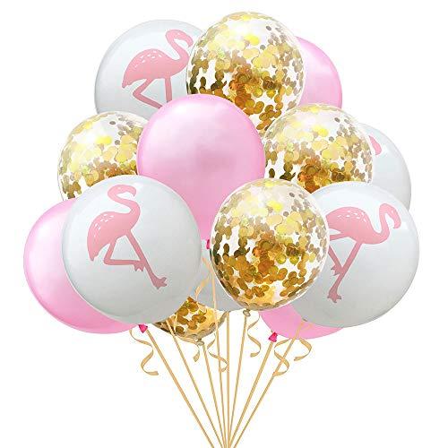 Hawaiian Flamingo Balloon Tropical Balloons with Round Confetti Wedding Birthday Party Supplies Decorations 15PCS(Gold)