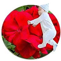 エリアラグ軽量 赤い花 フロアマットソフトカーペット直径27.6インチホームリビングダイニングルームベッドルーム