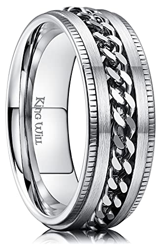 King Will Intertwine 8mm Spinner Ring Silver Stainless Steel Fidget Ring Anxiety Ring for Men