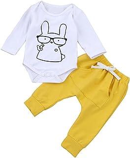 Baby Girl Long Sleeve Cartoon Elephant Print Tops Long Pants Pajamas Clothing Set Boys Yamally