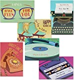 Retro 80's Pun Valentine's Cards for Classroom Exchange (4 x 6 In, 36 Pack)