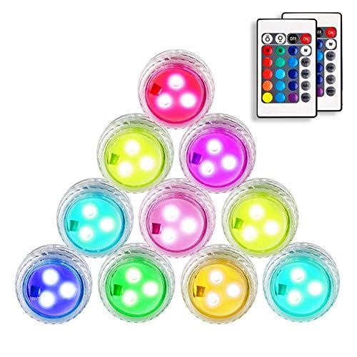 Danolt 10 Stück LED Teichbeleuchtung mit Fernbedienung 2 X CR2450-Batterien Farbwechsel Unterwasserlicht für Vasenbasis, Whirlpool, Aquarium, Teich, Pool, Garten