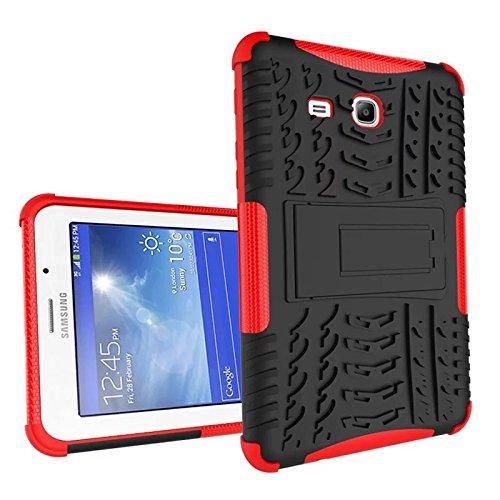 XITODA Galaxy Tab 3 Lite 7.0 Custodia, Armor Style Hybrid PC + TPU Silicone Custodia con Stand Protezione per Samsung Galaxy Tab 3 Lite 7.0 Pollici SM-T110/T111/T113/T116 Cover Case - Rosso
