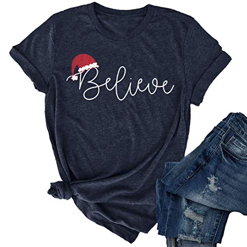 JINTING Christmas Believe Hat Shirt Cute Short Sleeve Christmas Graphic Print Tee Shirts Tops for Women Blue