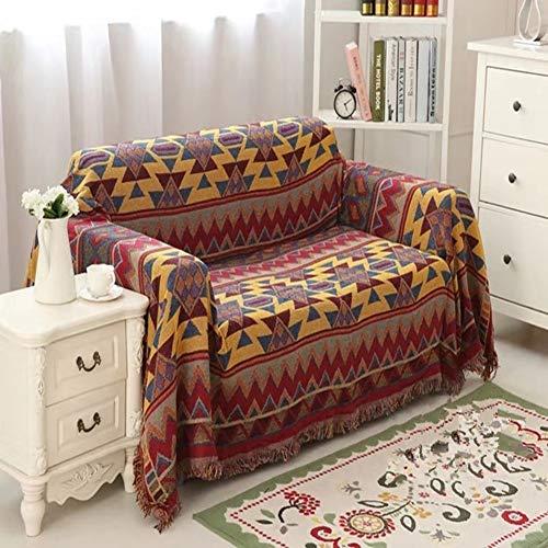 Stangent 100% Baumwolle Bohemian Decke geflochten Boho Überwurf Decke Sofa Tagesdecke Patchwork Strickdecke, 180 * 220CM
