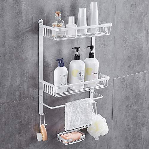Gricol Estante cuadrado de ducha para baño adhesivo montado en la pared, organizador de almacenamiento de aluminio, plateado con barra de paño integrado para baño, cocina, plato de jabón gratis