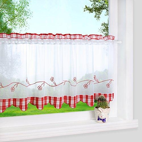 Yujiao Mao Stangendurchzug Scheibengardine Landhausstil Bistrogardine Vorhänge Rot HxB 45x120cm