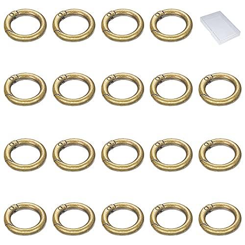 Xihuimay 20 anillos resorte multiusos metal anillos primavera llavero de aleación zinc Mosquetón redondo Mosquetón clip para monederos llavero DIY mano artesanía organización accesorios, 17mm bronce