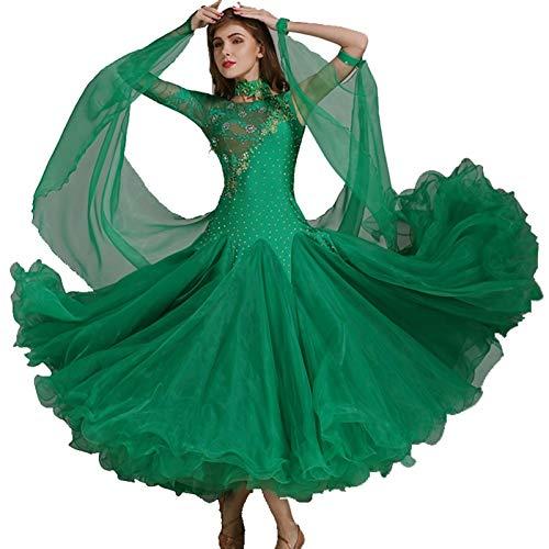 Vestidos De Baile De Conjunto De Baile Manga Larga Suave Vals Tango Gran Oscilacin Vestidos De Competicin Disfraz De Rendimiento (Color : Green, Size : M)